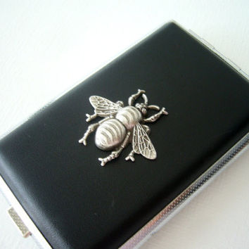 Black cigarette case in leather and silver insect