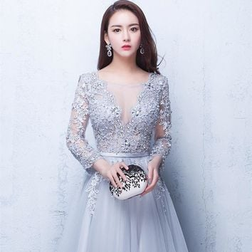 Three Quarter Backless Lace Up Flowers Elegant Evening Dress Floor Length Party Gown Evening Gowns