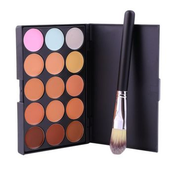 Pro Makeup Set 15 Color Concealer Face Primer Cream Contour Palette Makeup Corrector Base Palette + Powder Foundation Brush