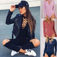 Women Jumpsuits 2016 Hottest Trendy Cross Strings Front Lace up Design Bandage Bodysuit[9871314191]
