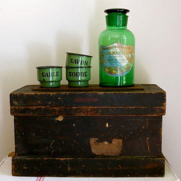 Vintage Wooden Tool Box - with Insert - Cupboard - Trunk - Toy Chest - Rustic Primitive Cottage Decor