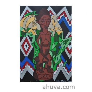 African Woman Sculpture in Canvas