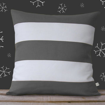 Candy Cane Striped Pillow Cover in Gray and White Linen by JillianReneDecor - Holiday Decor - Stripes - Christmas Gift for Him