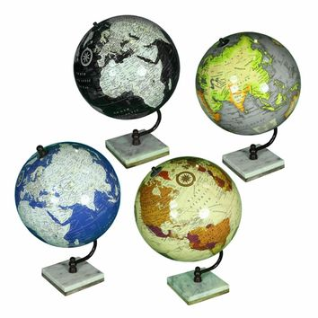 Assortment Of 4 Splendid Globe On Stand, Multicolor By Benzara