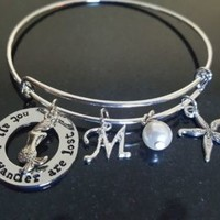Not All Who Wander...Personalized Bracelet, Swarovski Pearl, Graduation