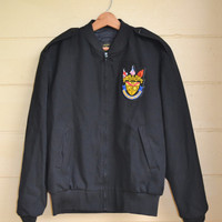 Vintage Black Jacket Military School Uniform Jacket Black Flying Cross Uniform Jacket Mens Medium