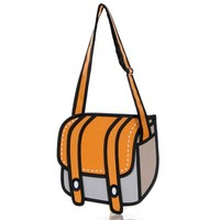 Orange 3D Jump Style 2D Drawing From Cartoon Paper Bag Comic 3D Messenger Bag