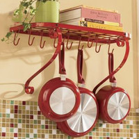 Red, Black Kitchen Cookware Pot and Pans Wall Mounted Organizer Rack