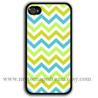 chevron iPhone 4 Case, iphone 4s case, yellow & sky blue chevron iPhone black Hard Case for iphone 4 4s