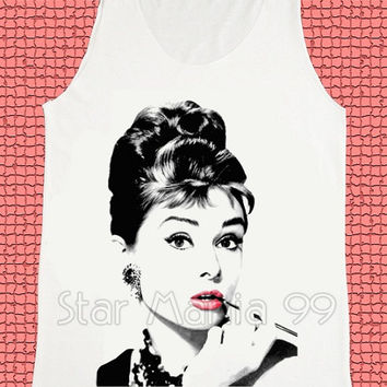 Audrey Hepburn Shirt Movie Shirt Fashion Shirt Tank Top Women Shirt Vest Women Tunics Top Shirt Sleeveless Singlet White Shirts Size S,M,L
