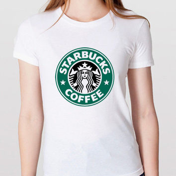New Starbucks Coffee Funny Logo Women Cotton White T Shirt - ST03
