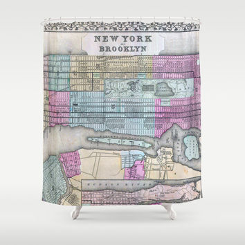 Mitchell Map of New York City and Brooklyn Shower Curtain by Jbjart