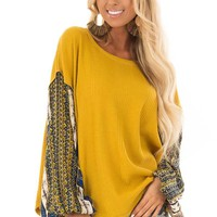 Mustard Waffle Knit Top with Long Printed Sleeves