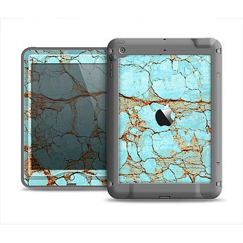 The Cracked Teal Stone Apple iPad Mini LifeProof Nuud Case Skin Set