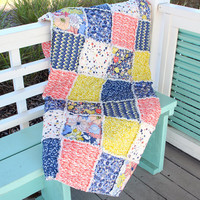 Rag Quilt Lap Quilt Couch Throw, Art Gallery Fabric Chic Flora  Blue, Green and Vibrant Coral Coastal Decor Beach Handmade Quilt
