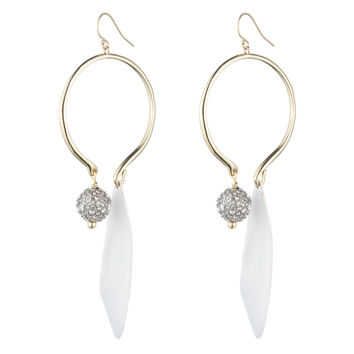 Crystal Accented with Matte White Drop Wire Earring | Alexis Bittar