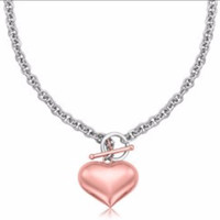 Rose Gold Plated Puff Heart Rolo Chain Necklace in Sterling Silver