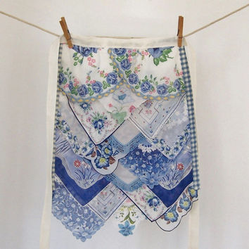 Apron Womens Hostess Gift Mother's Day Gift Vintage Hankies One of a Kind Design Gourmet Cottage Chic