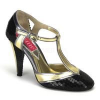Bordello Cabaret Gold Black Sequin T Strap Pumps-Flapper Shoes