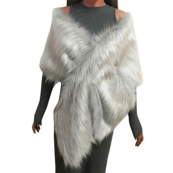 25*165cm Winter Women Faux Fox Fur Pashmina Long Shawl Stole Wrap Shrug Scarf Bridal Wedding Faux Fur Shawl poncho bandana
