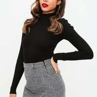 Missguided - Gray Brushed Dogtooth Mini Skirt