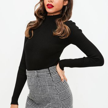 Missguided - Grey Brushed Dogtooth Mini Skirt