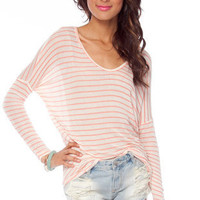 Stripe U Out Knit Top in Coral :: tobi