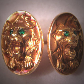 Antique Gold Cufflinks Vintage Art Nouveau Lion Deco