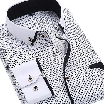 Men Fashion Casual Long Sleeved Printed shirt Slim Fit , Soft and Comfortable