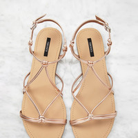 Metallic Knotted Sandals