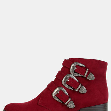 Triple Buckle Western Ankle Booties BURGUNDY