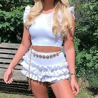 Summer Fashion Women Sexy Flounces Sleeveless Solid Color Two Piece Set White