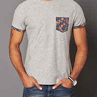 Floral Pocket Tee Heather Grey