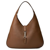 Gucci Brown Jackie Soft Pebbled Leather Brown Hobo Hand Bag 362968