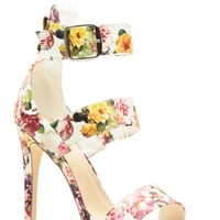 White Faux Leather Floral Strappy Single Sole Heels @ Cicihot Heel Shoes online store sales:Stiletto Heel Shoes,High Heel Pumps,Womens High Heel Shoes,Prom Shoes,Summer Shoes,Spring Shoes,Spool Heel,Womens Dress Shoes