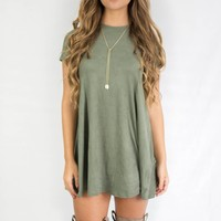 Perfect Strangers Suede Olive Swing Dress