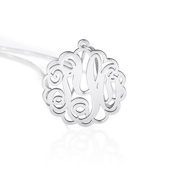 monogram jewelry - 925 sterling silver monogram jewelry -monogram pendant