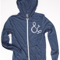 Unisex Ampersand and Bird Eco Heather Hoody - Alternative apparel XS S M L XL (4 Color Options)