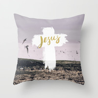 JESUS | EASTER | CROSS Throw Pillow by Pocket Fuel