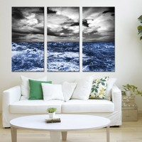 Extra Large Wall Art Canvas Storm in Ocean - Triptych Wall Art Canvas Print Wave on Ocean - Dark Ocean Large Print - Blue Sea Wall Art Print