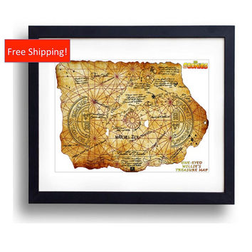 The Goonies Treasure Map Print One-Eyed Willie Chunk Data Mikey Mouth Sloth 80's Gift for HIm