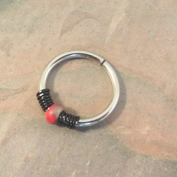 Red and Gold Beaded Cartilage Hoop 16 18 20 Gauge Earring Septum Tragus Nose Ring Upper Ear Piercing