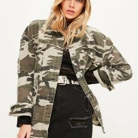 Missguided - Khaki Camouflage Raw Edge Trucker Jacket