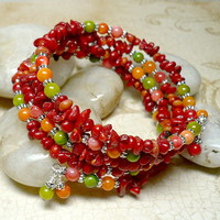 Red Coral with Multi Color Mother of Pearl MultiWrapped Bracelet
