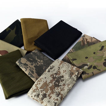 Tactical Camouflage Fish Net Mesh Army Scarf Military Veil Sniper Cover Army Camping Hiking Neckerchief