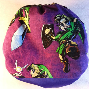 SassyCloth one size pocket diaper with Link from Legend of Zelda cotton print and purple PUL. Made to order.