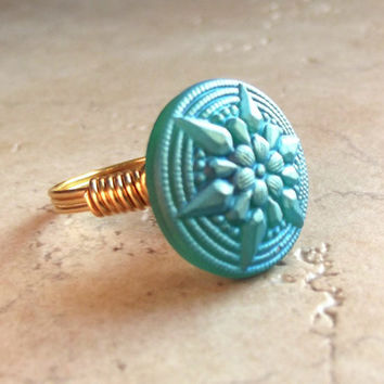 Blue Button Ring:  Geometric Starburst Star Ring, Gold Wire Wrapped Jewelry, Size 7 ONLY