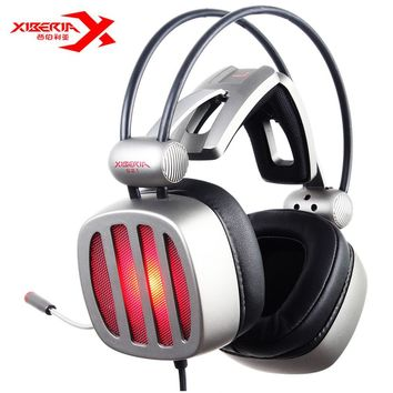 XIBERIA S21 USB Gaming Headphones Over-Ear Noise Canceling LED Stereo Deep Bass Game Headsets With Microphone For PC Gamer