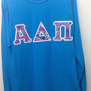 Alpha Delta Pi Sorority Small Long Sleeve Shirt with Greek Letters -- Ready to Ship!