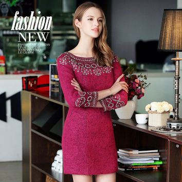 2016 Women Autumn Winter Wool Dress Ladies Bodycon Slim Beading Diamond Dress Ladies Elegant Full Sleeve A Line Dress